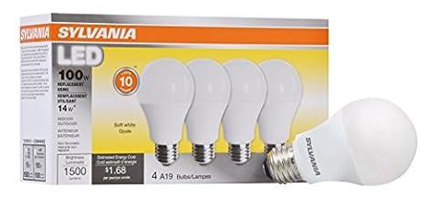 Sylvania Home Lighting 78101 A19 Sylvania, 100W Equivalent, LED Light Bulb Lamp, 4 Pack, Efficient 14W 2700K, Soft White, 4 (Sylvania 2700k Led)
