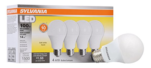 Sylvania Home Lighting 78101 Sylvania, 100W Equivalent, LED Light Bulb, A19 Lamp, 4 Pack, Efficient 14W, Soft White 2700K, Piece