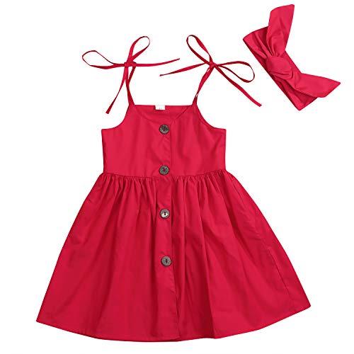 Red Dress Baby Girl - Toddler Baby Girls Strap Button Dress