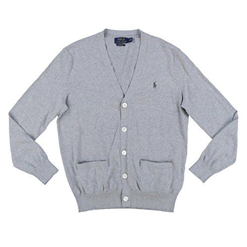 - Polo Ralph Lauren Mens Pima Cotton Cardigan Sweater (XX-Large, Andover Heather Gray)