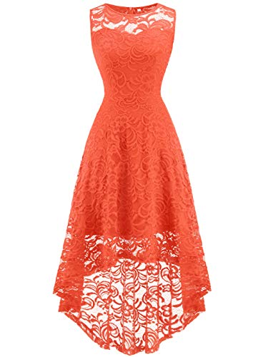 FAIRY COUPLE Women's Vintage Floral Lace Hi-Lo Sleeveless Cocktail Formal Swing Dress M ()