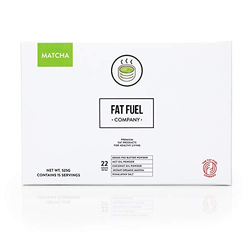 The Fat Fuel Company The Only Instant Matcha Keto Diet Tea with Grass Fed Butter, MCT Oil & Coconut Oil Powders, 15 Servings Matcha Latte