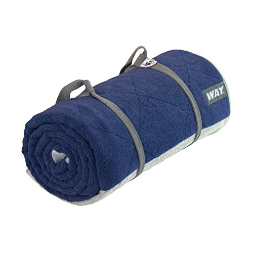 WAYmat Core Exercise Mat – Thick All-Purpose Non-Slip Yoga Towel Mat, Perfect for Hot Yoga, Bikram and Pilates (Navy Blue)