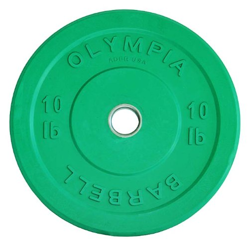Ader Sporting Goods Ader Solid Rubber Bumper Plates- Green 10lb Pair by Ader Sporting Goods