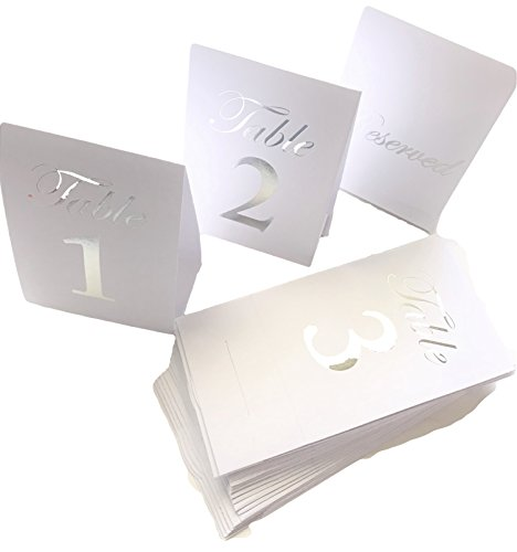 His and hers White & Silver Foiled Table Number Cards 1-20 plus 4 Reserved cards, Tent, Standup, Reception, Party, Dinner, Banquet, Wedding, Anniversary, Holiday, Formal Dinner, Placement Cards, ()