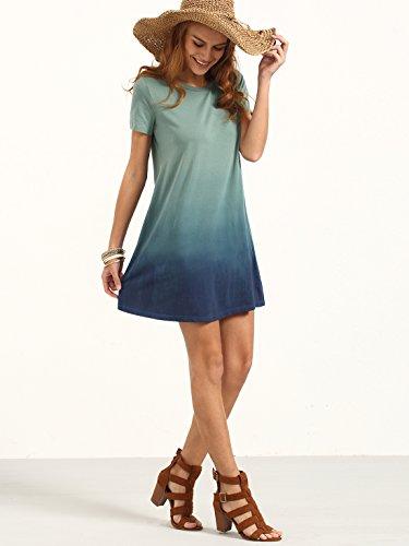 Shirt Gradient T Manches Longue Multicolore Couleurs Robe Femme Courtes Tunique ROMWE 0wXOSS