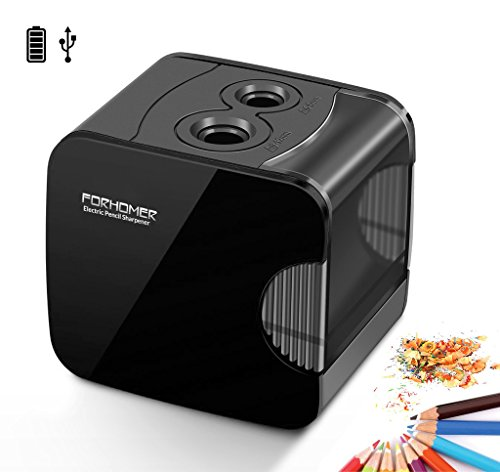 FORHOMER Electric Pencil Sharpener (Classic Black), Best USB or Battery Operated for No.2 and Colored Pencil at School, Home, Office, Studio