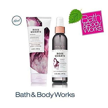 Bath & Body Works ROSE QUARTZ Set - Body cream and Fine Fragrance Mist Full Size ()