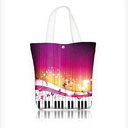 Canvas Tote Bags Keys with Butterflies Stars and Musical Not