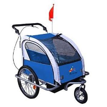 Aosom Elite Ii 3in1 Double Child Bike Trailer Blue