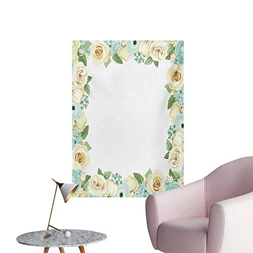 Cream Leaf Wallpaper - Anzhutwelve Shabby Chic Wall Paper Flowers Roses Leaves Buds Romantic Love Valentines Frame ArtworkBlue Green and Cream W20 xL28 Poster Print