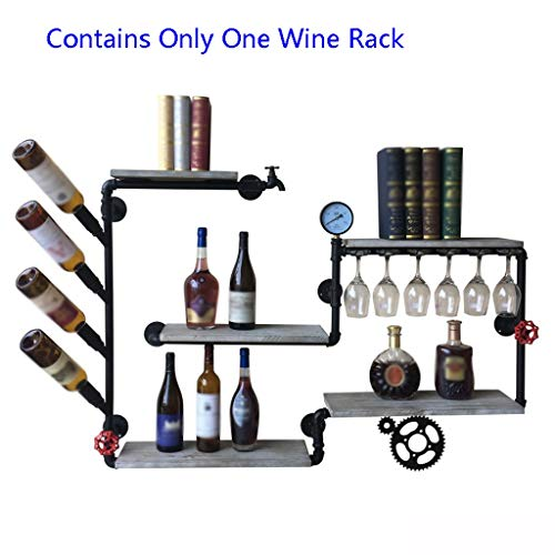 (Wine Rack Wall Hanging Wrought Iron Shelf on The Wall Hanging Wine Glass Rack Industrial Retro Water Pipe Decoration (Color : Black, Size : 14085cm))