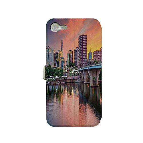 Phone case Compatible with iPhone 7 iPhone 8 3D Printed PU Skin Cover Protection Sleeve,Evening Urban City Hartford Connecticut Tranquil,Premium PU Leather Magnetic Flip Folio Protective iPhone case ()
