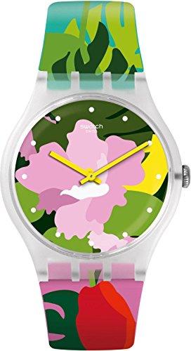 Swatch Originals Tropical Garden Pink Dial Silicone Strap Ladies Watch SUOK132