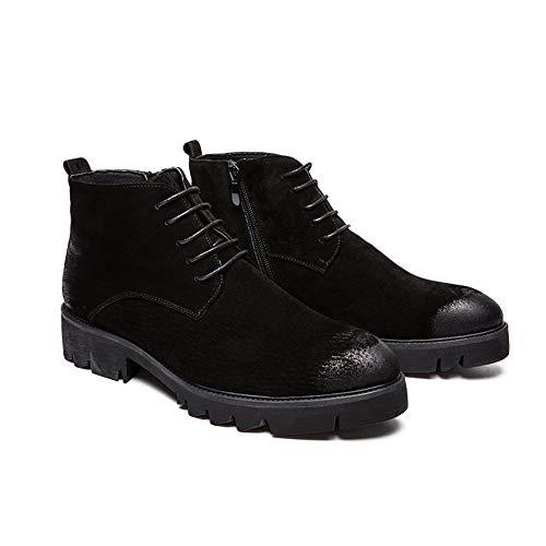 Falso Altas Hombres De Hombre Botas Juvenil Invierno Casual Cremallera Vellón 2018 shoes Negro Británico Superior Lateral Con Interior convencional Jiuyue Opcional Moda Estilo Para qOUwxvC0