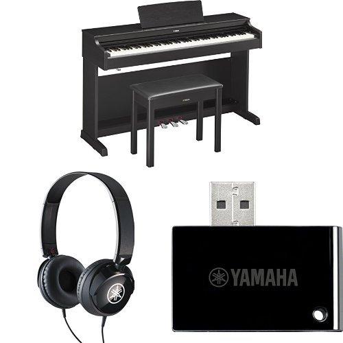 Yamaha YDP163B Arius Series Console Digital Piano, Black, with Yamaha Bench, Headphones, and MIDI Adapter