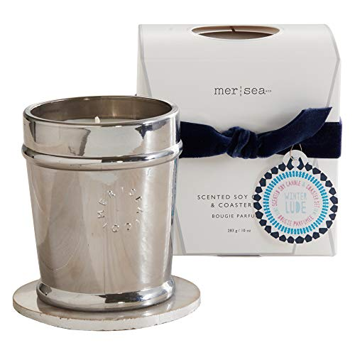 MER SEA & CO Holiday Metallic Glass Scented Candle with Agate Coaster - Winterlude - 10 Oz, Boxed (60+ Hour Burn)