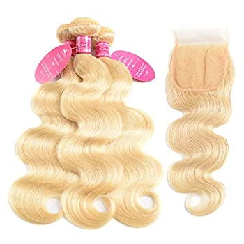 Image of 613 Closure with 3 Bundles Brazilian Blonde Body Wave Bundles with Lace Closure 100% Body Wave Virgin Remy Hair Weft Human Hair Bundles with Transparent Color Swiss Lace Closure(18 20 22+16, 613)