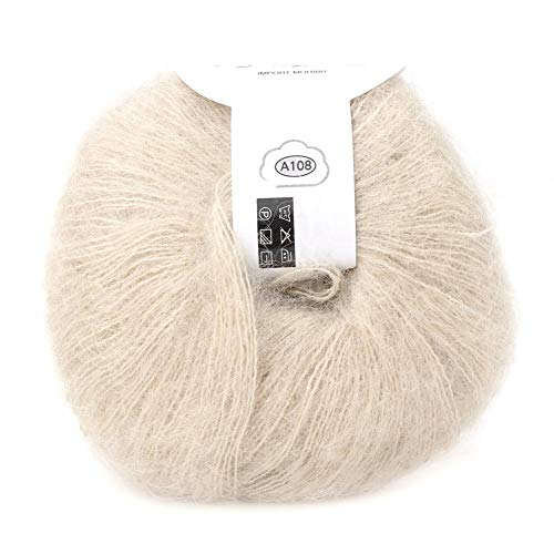 Soft Mohair Cashmere Wool Knitting Yarn Lightweight Hand Knitwear Yarn DIY Shawl Scarf Crochet Thread with A Crochet (Beige)