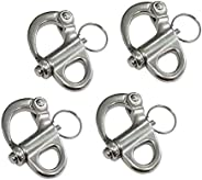 """Pair of 1-3/8""""(35MM) 316 Stainless Steel Fixed Bail Snap Shackle for Bracelet, Sai"""