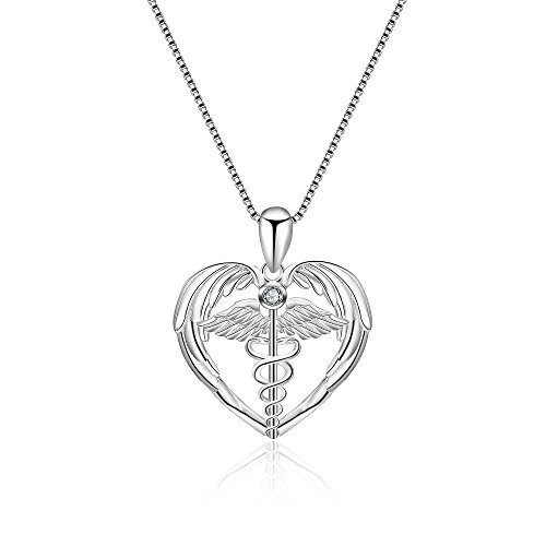 YFN Sterling Silver Caduceus Angel Nursing Themed Pendant Necklace 18