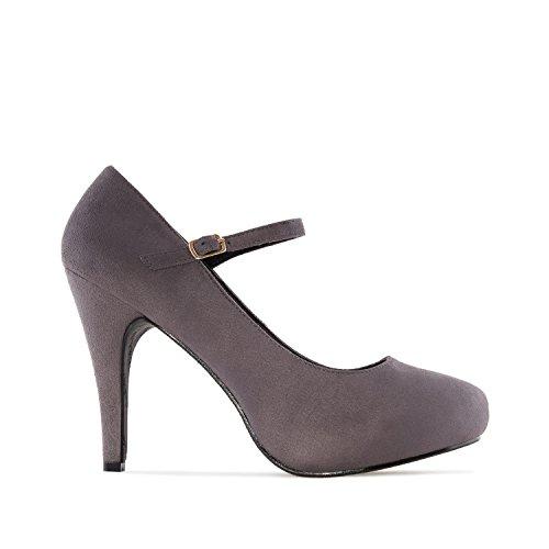 Andres Machado AM5201.Mary Jane Stilettos In Suede.Petite&Large Sizes: UK 0.5 To 2.5/EU 32 To 35 - UK 8 To 10.5/EU 42 To 45. Grey Suede lx2LFka