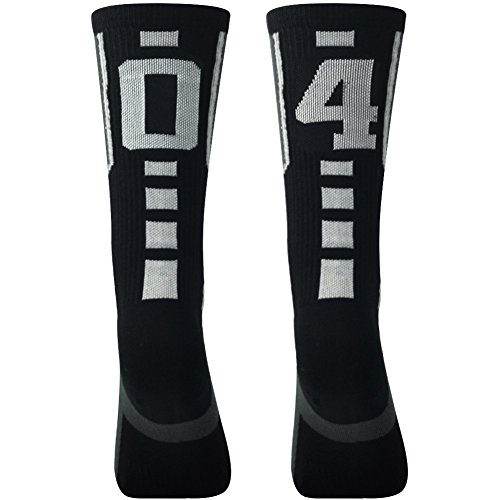 "ComiFun Gift Number Soccer Socks for Youth Compression Professional Football Socks Cushion Stockings Over 18 Ages,1 Pair,""04""""40"" Black/White"
