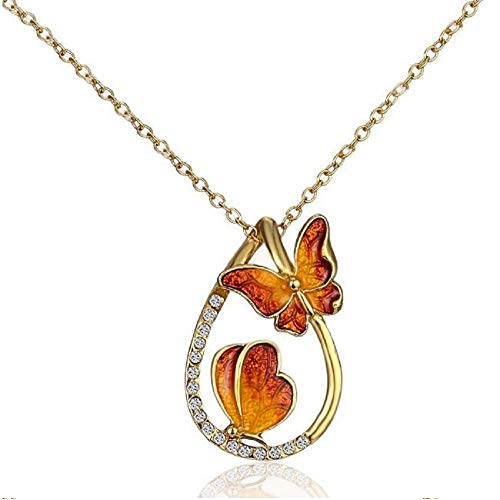 NOUMANDA Fashion Nature Colorful Enamel Double Butterfly Crystal Teardrop Pendant Necklace (Orange red)