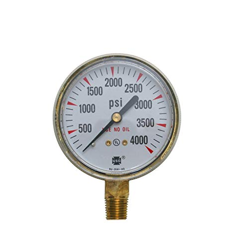 - Ametek USG Model P-601 2.5in 0-4000 PSI Brass Compressed Gas Pressure Gauge
