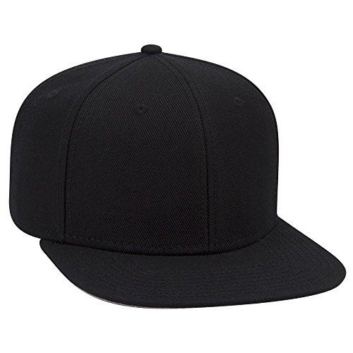 (OTTO Wool Blend Twill Square Flat Visor OTTO SNAP 6 Panel Snapback Hat - Black)