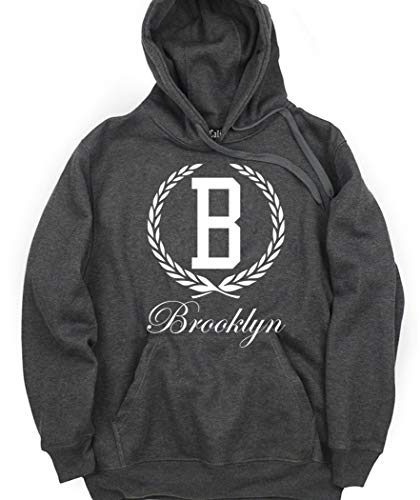 CaliDesign Charcoal Grey Brooklyn Graphic Hoodie Bronx Logo Pullover Sweatshirt, M - Medium (Supreme Grey On Grey Box Logo Hoodie)