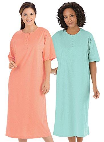 Henley Nightshirts Set of 2, Peach/Mint, Size Sizes 1X-3X