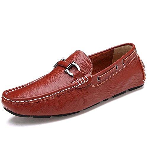 ZXCV Zapatos al aire libre Zapatos de cuero de los Oxfords ocasionales del vestido de los hombres Reddish Brown