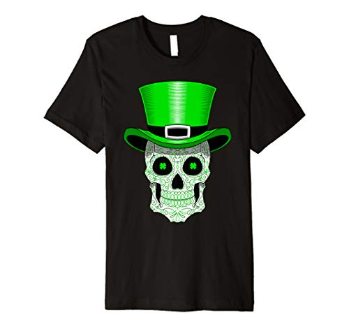 St Patrick's Day Sugar Skull Shirt Leprechaun Men Women]()