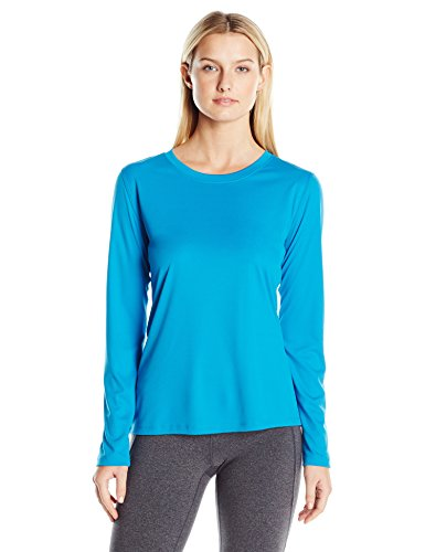 Hanes Women's Sport Cool Dri Performance Long Sleeve Tee, Underwater Blue, Large