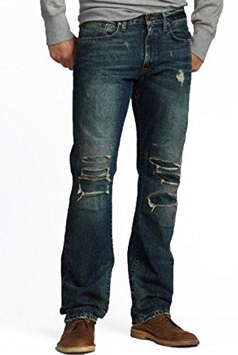 Herren Jeans von Eddie Bauer Straight Leg in dark heritage destroyed dirty wash