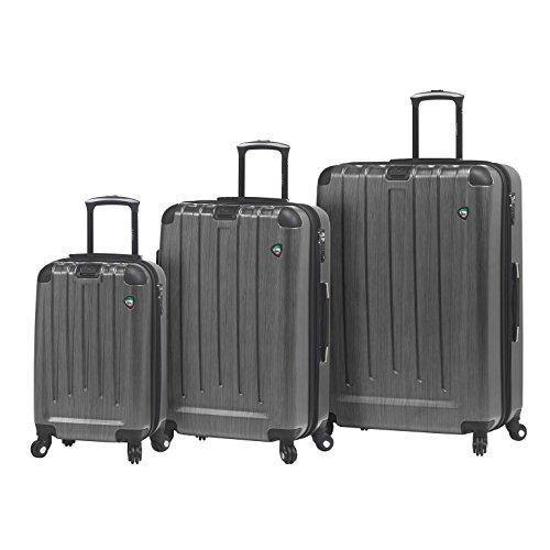 Mia Toro M1028-03pc-slv Italy Diamante Spazzolato Hardside Spinner Luggage 3 Piece Set, Silver