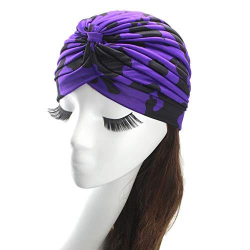 Challyhope Indian Headwear Leopard Turbans for Women Long Hair Head Scarf Headwraps Cancer Hats Bonnet Yoga Cap(Dark Purple, one-Size)