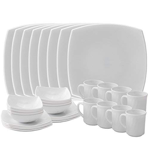 Matashi Platinum Collection Dish 32-Piece Opal Glassware Dinner Set-Break Freeze Resistant-Dishwasher Safe - Service for 8-(Platinum Collection, White), Platinum Collection,