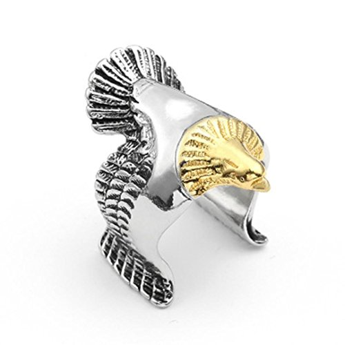 OldSch001 Rings for Men,Fashion Stainless Steel Biker Eagle Open Ring Size 8 10 12 (Multicolor, 12)