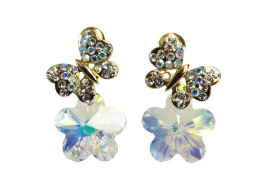 [Bijoux De Ja Gold Plated Base Flower Butterfly Austrian Crystal Post Drop Earrings] (Easy Homemade Mermaid Costumes)