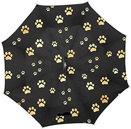 Bingo Point Long Shank Double Layer Inverted Umbrella Windproof Reverse C-Hook Cat Dog Footprint Umbrella Reverse Umbrellas For Women doublelayerumbrella doublelayerinvertedumbrella