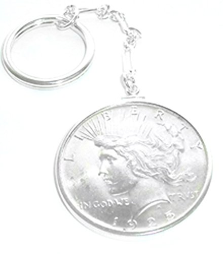 - Flintski Jewelry Peace Silver Dollar Sterling Silver Coin Edge Keychain Coin NOT Included