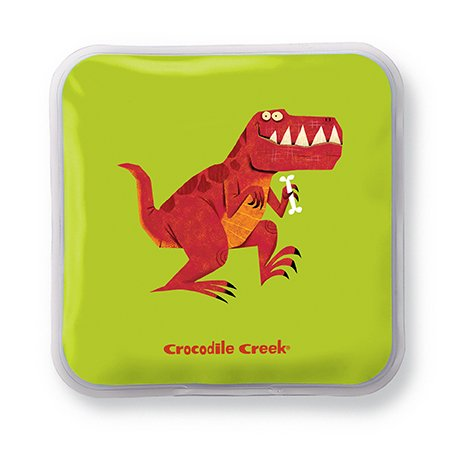 """Crocodile Creek Kids Eco Reusable Dinosaur T-Rex Ice Packs for Lunch Boxes (Set of 2), Green, 5"""""""