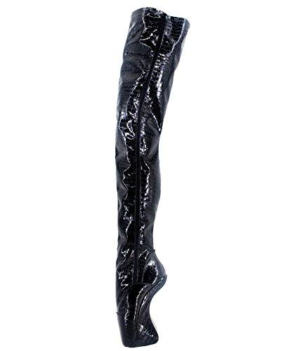 "Wonderheel 7"" heelless sexy fétiche lacets bottes cuissarde verni noir ballet chaussures femme"