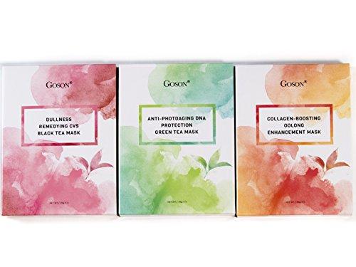 (Goson Tea Infused Full Face Mask Sheets - Hydrating, Moisturizing, Collagen Facial Sheet Mask - Black Tea, Green Tea, Oolong Tea (15 Face Mask Pack))