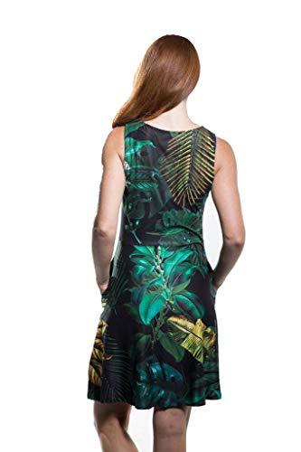 Le Scoopneck Sans Manches D'été Des Femmes De Calison Évasé Robe De Réservoir En Usa En Noir Et Vert