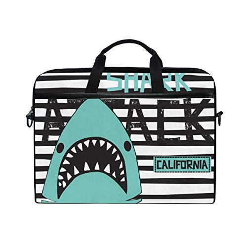 Striped Tab Sleeve Tee - TARTINY 15-15.4 Inch Laptop Bag Shark On Striped Background Attack Tshirt Shoulder Messenger Bags Sleeve Case Tablet Briefcase with Handle Strap