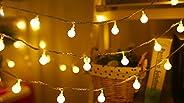 JUSTDOLIFE Cordão de luzes para uso em ambientes externos em forma de mini bola com cordão de luz noturna mode