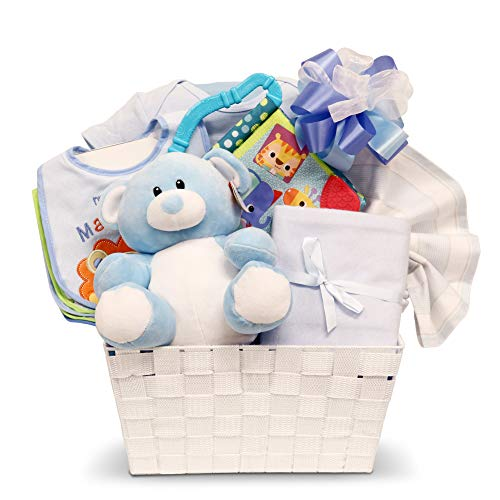- Newborn Baby Boy Gift Basket with Onesie, Plush, Toys and More ...